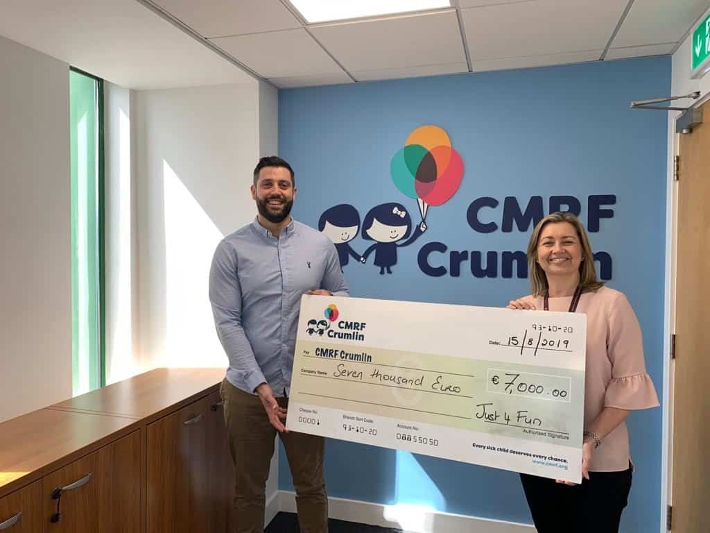 School Tours Donation by Just 4 Fun School Tours Ireland to CMRF Crumlin